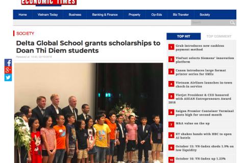 Vietnam Economic Times: Delta Global School trao học bổng cho học sinh Đoàn Thị Điểm